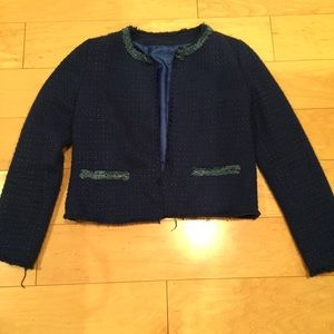Zara tweed cropped jacket in navy XS